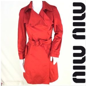 Miu miu %100 Silk Red Trench Coat